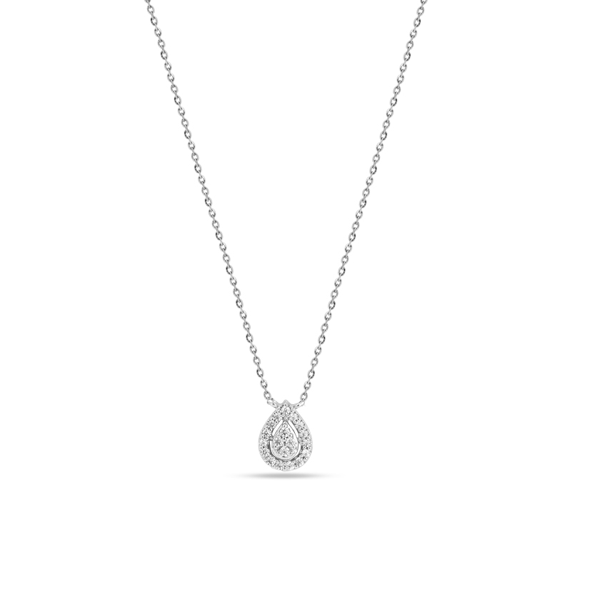 Diamond Necklaces 14 Karat White Gold Charming Drop Necklace
