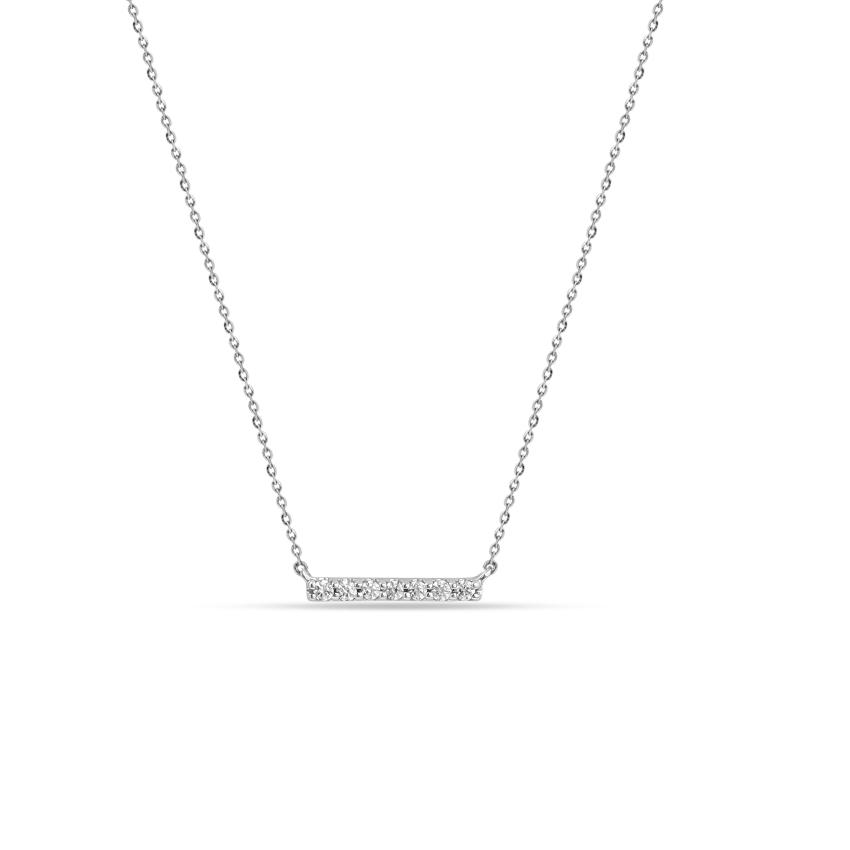 Diamond Necklaces 14 Karat White Gold Tempting Diamond Bar Necklace