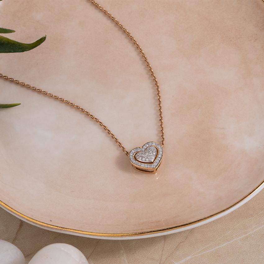 Diamond Necklaces 14 Karat Rose Gold Tyra Heart Necklace