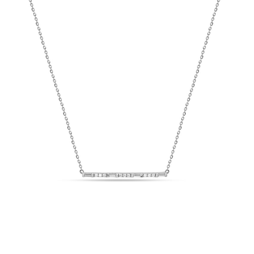 Diamond Necklaces 14 Karat White Gold Shining Bar Diamond Necklace
