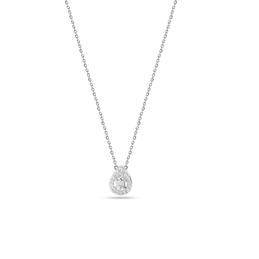 Diamond Necklaces 14 Karat White Gold Twinkling Drop Diamond Necklace