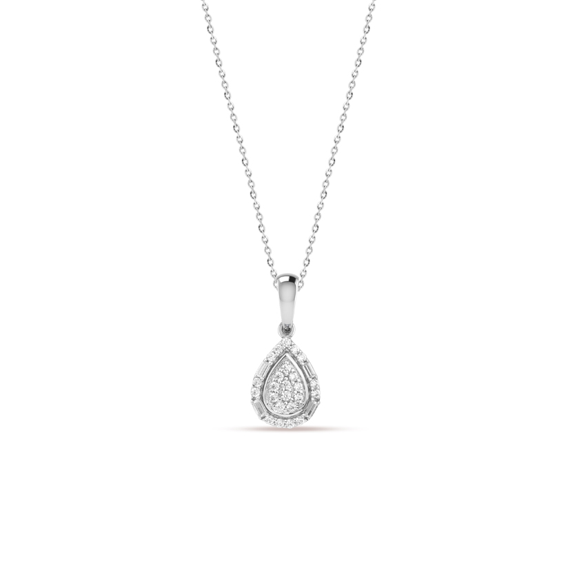 Diamond Necklaces 14 Karat White Gold Bani Wink Diamond Necklace