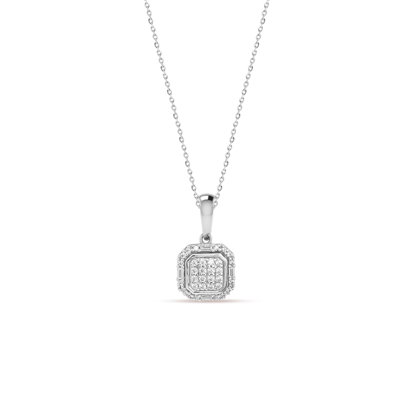 Diamond Necklaces 14 Karat White Gold Olivia Shimmer Diamond Necklace
