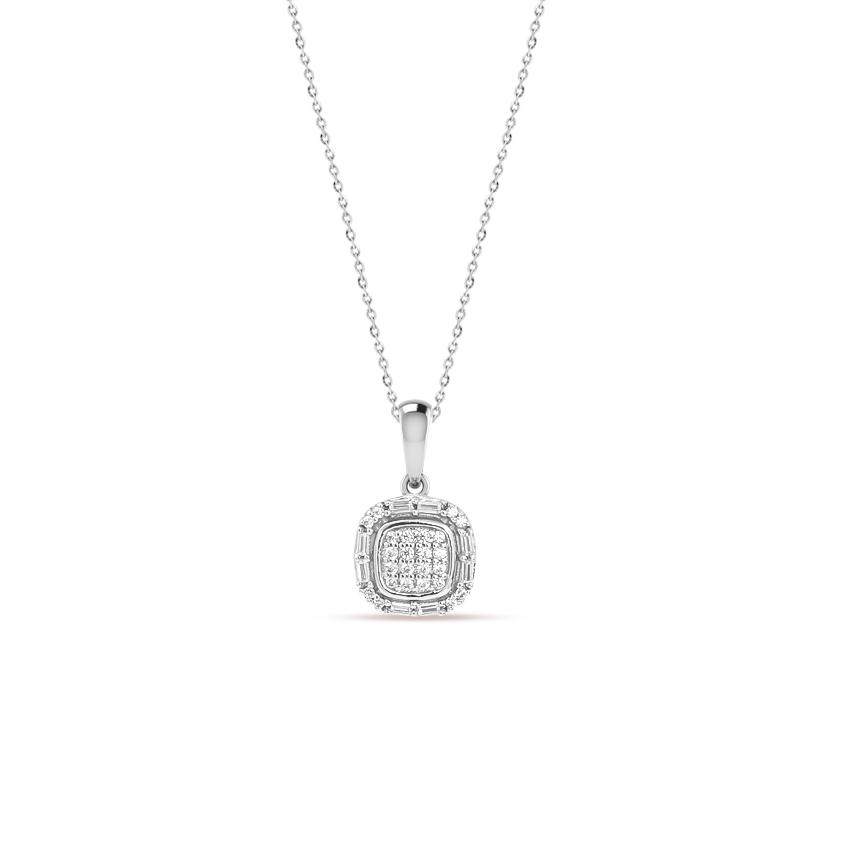 Diamond Necklaces 14 Karat White Gold Aisha Gleaming Diamond Necklace
