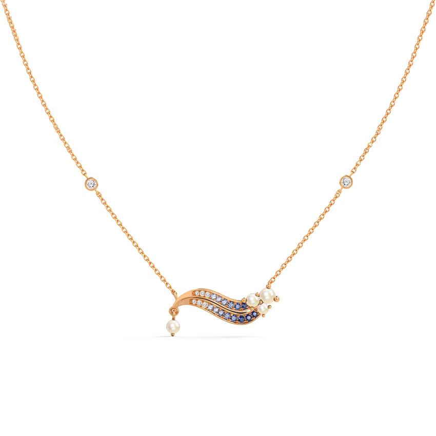 Diamond,Gemstone Necklaces 14 Karat Rose Gold Genova Wave Gemstone Necklace
