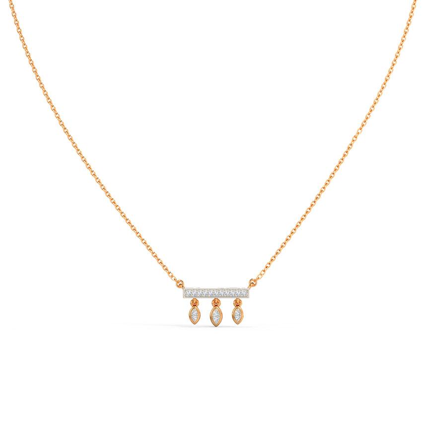 Diamond Necklaces 14 Karat Rose Gold Dressy Diamond Bar Necklace