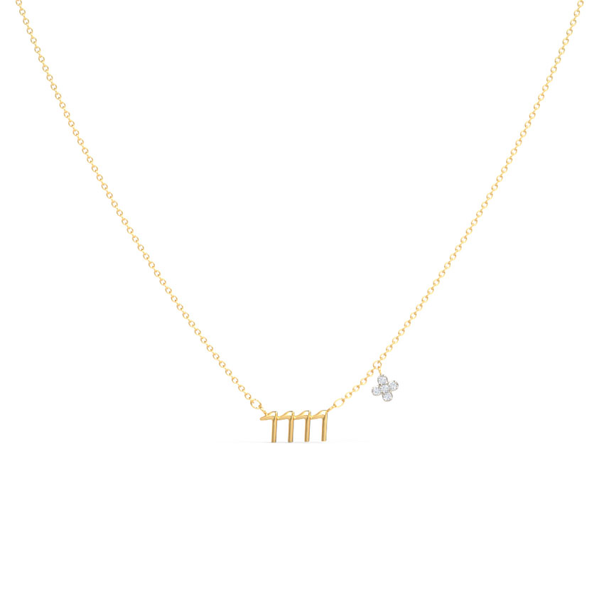 Diamond Necklaces 14 Karat Yellow Gold Make a Wish Diamond Necklace