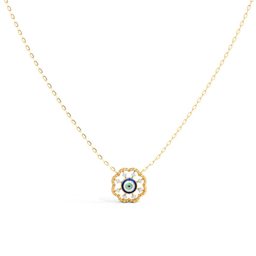 Diamond Necklaces 14 Karat Yellow Gold Flowering Evil Eye Diamond Necklace