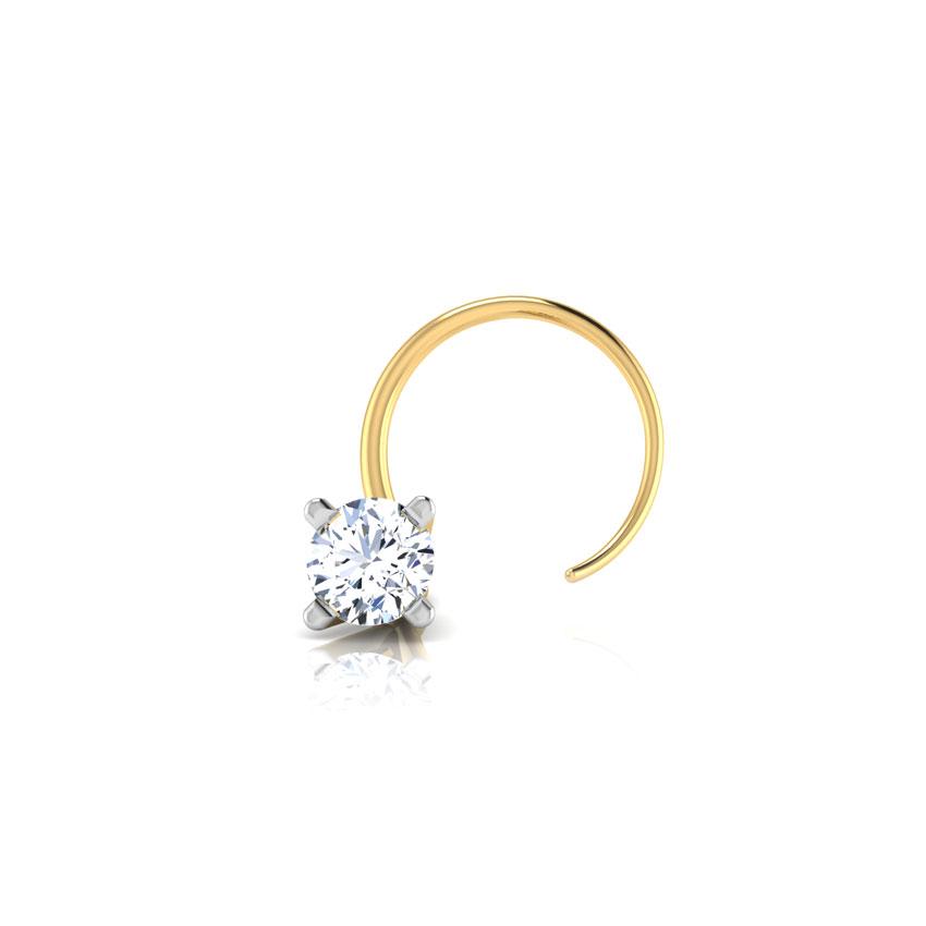 Diamond Nose pin 18 Karat Yellow Gold Solitaire Delight Diamond Nose Pin