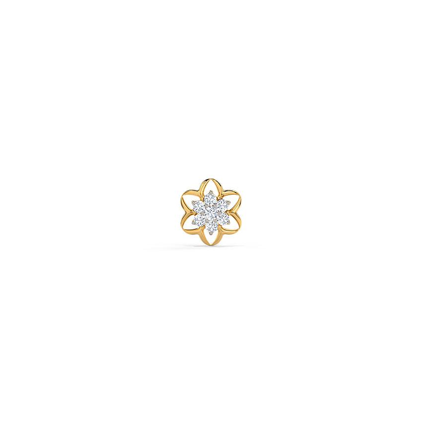 Diamond Nose pin 18 Karat Yellow Gold Alka Floral Diamond Nose Pin