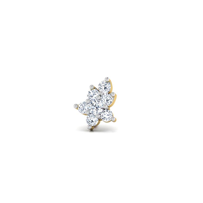Diamond Nose pin 18 Karat Yellow Gold Haima Floral Diamond Nose Pin