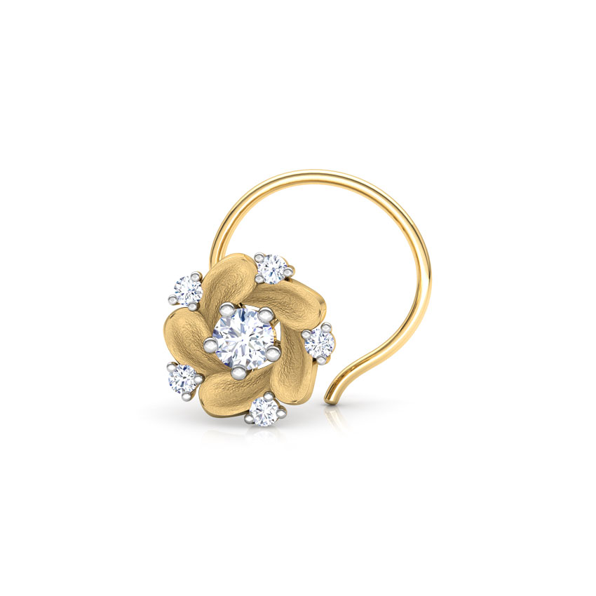 Diamond Nose pin 18 Karat Yellow Gold Claytonia Floret Diamond Nose Pin
