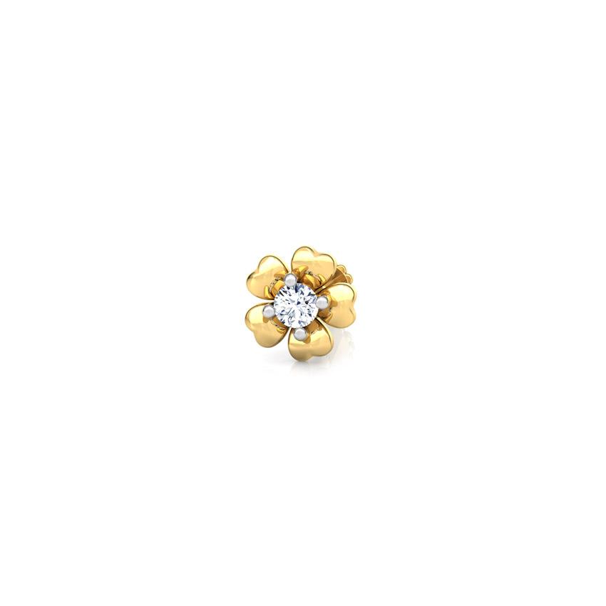 Diamond Nose pin 18 Karat Yellow Gold Ekta Bloom Diamond Nose Pin