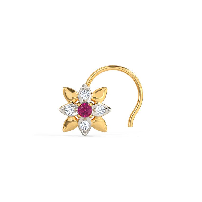 Diamond,Gemstone Nose pin 18 Karat Yellow Gold Maahi Floret Gemstone Nose Pin