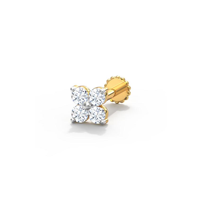 Diamond Nose pin 18 Karat Yellow Gold Anu Diamond Nose Pin