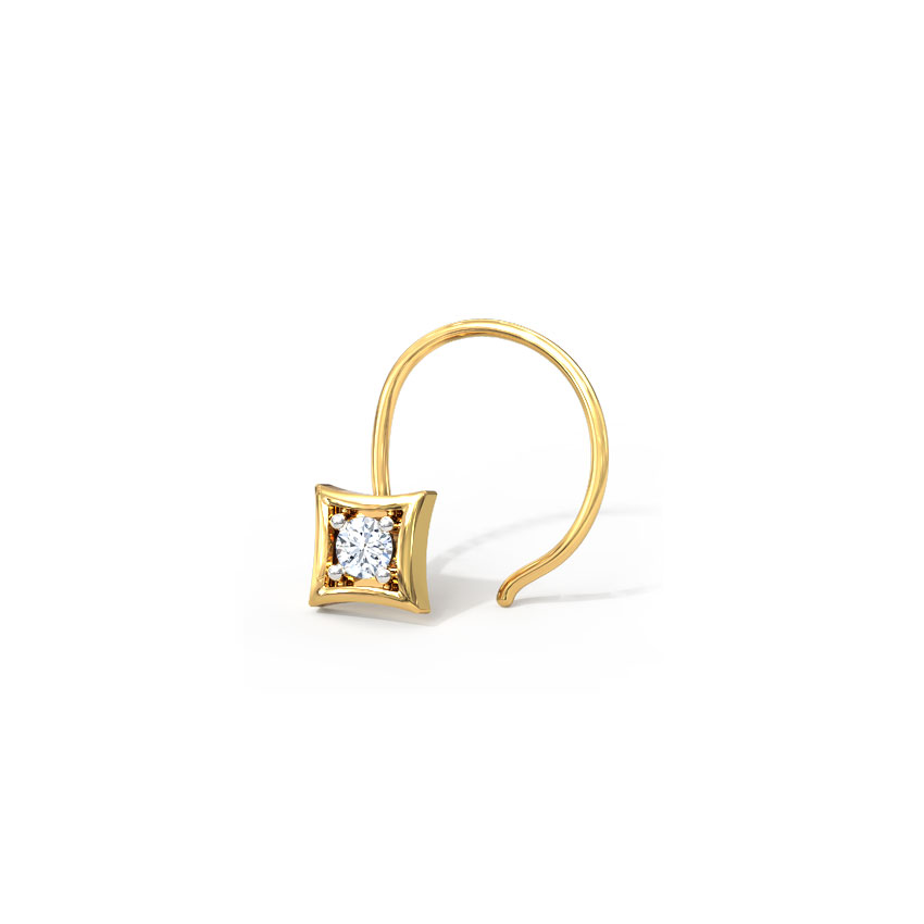 Diamond Nose pin 18 Karat Yellow Gold Kruti Diamond Nose Pin
