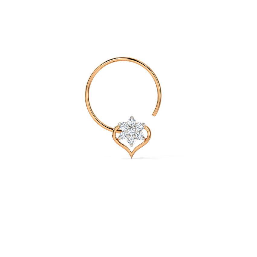 Diamond Nose pin 14 Karat Rose Gold Ananya Diamond Nose Pin
