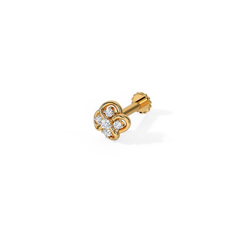 Diamond Nose pin 14 Karat Yellow Gold Juhi Diamond Nose Pin