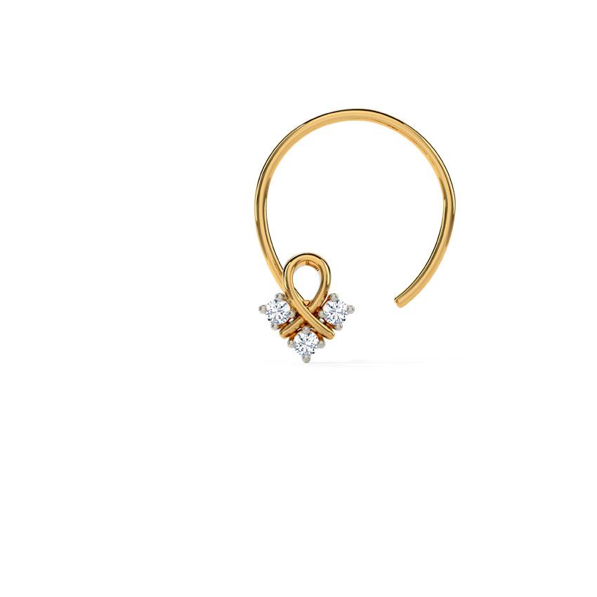 Diamond Nose pin 14 Karat Yellow Gold Ruhi Diamond Nose Pin