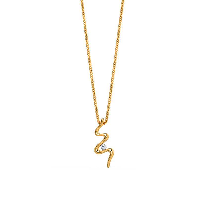 Diamond Pendants 18 Karat Yellow Gold Swizzle Diamond Pendant