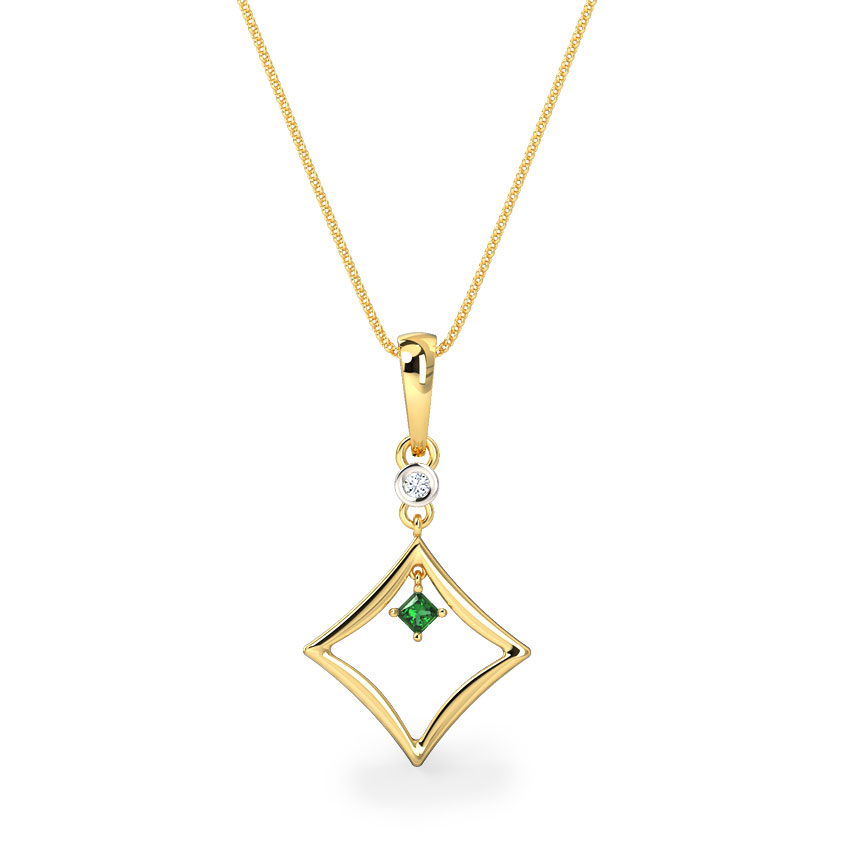 Princess-cut Emerald Pendant