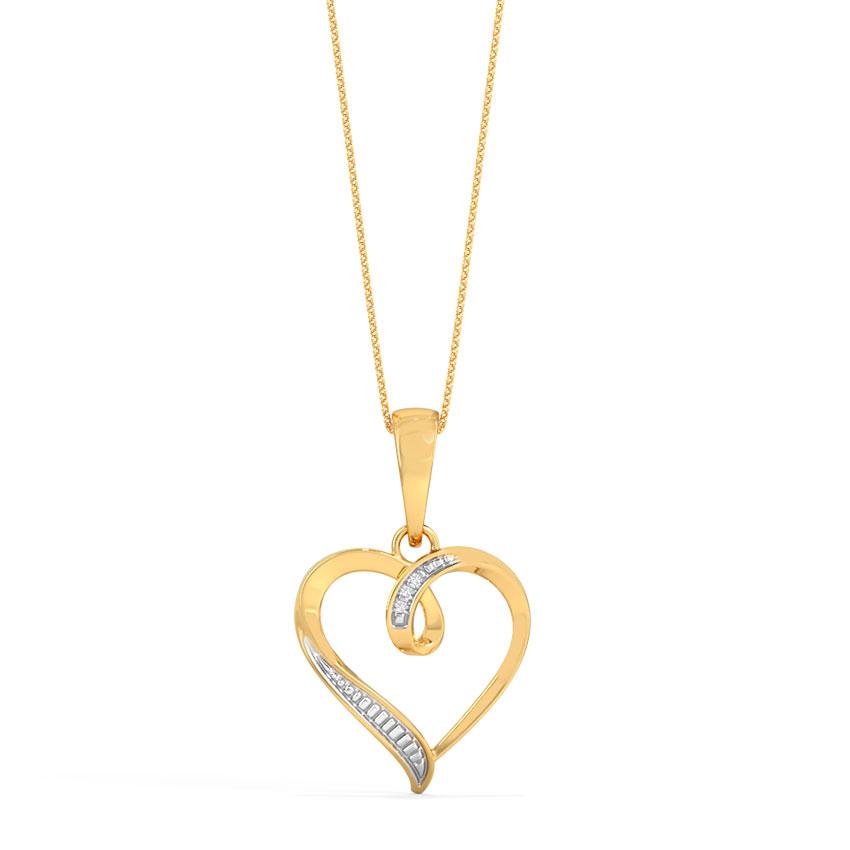 Diamond Pendants 18 Karat Yellow Gold Twirl Heart Pendant