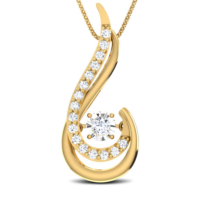 Diamond Pendants 18 Karat Yellow Gold Martha Heartbeat Diamond Pendant