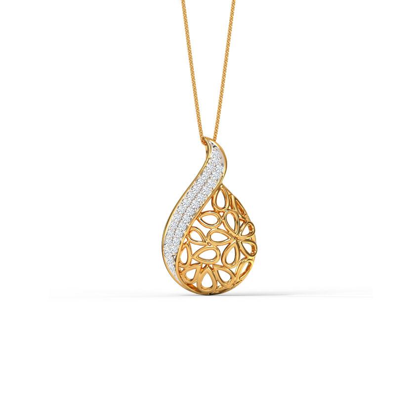 Diamond Pendants 18 Karat Yellow Gold Kaira Paisley Diamond Pendant