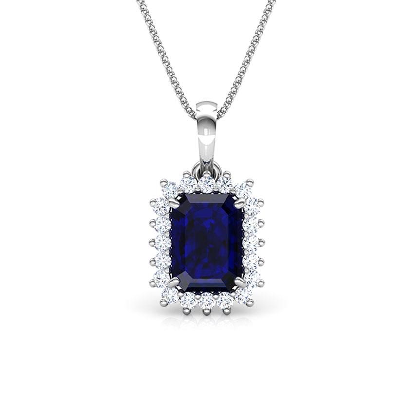 Diamond,Gemstone Pendants 18 Karat White Gold Haze Elegance Gemstone Pendant