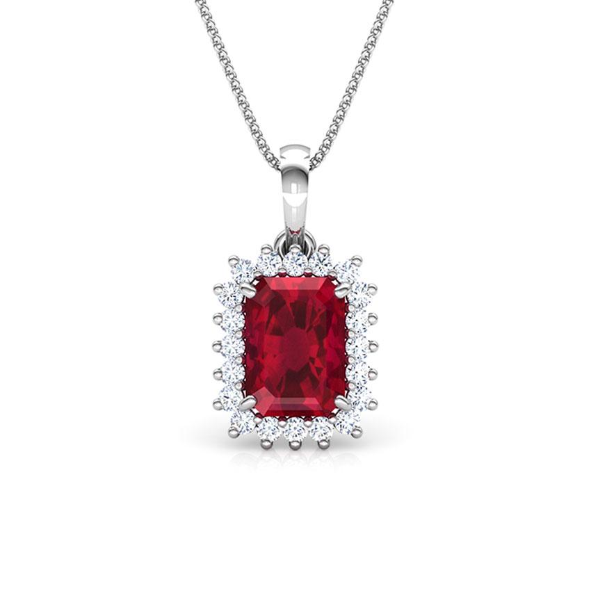 Diamond,Gemstone Pendants 14 Karat White Gold Haze Elegance Gemstone Pendant