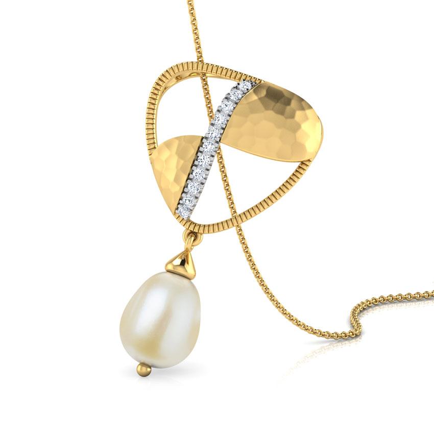 Diamond,Gemstone Pendants 18 Karat Yellow Gold Isotta Hammered Gemstone Pendant