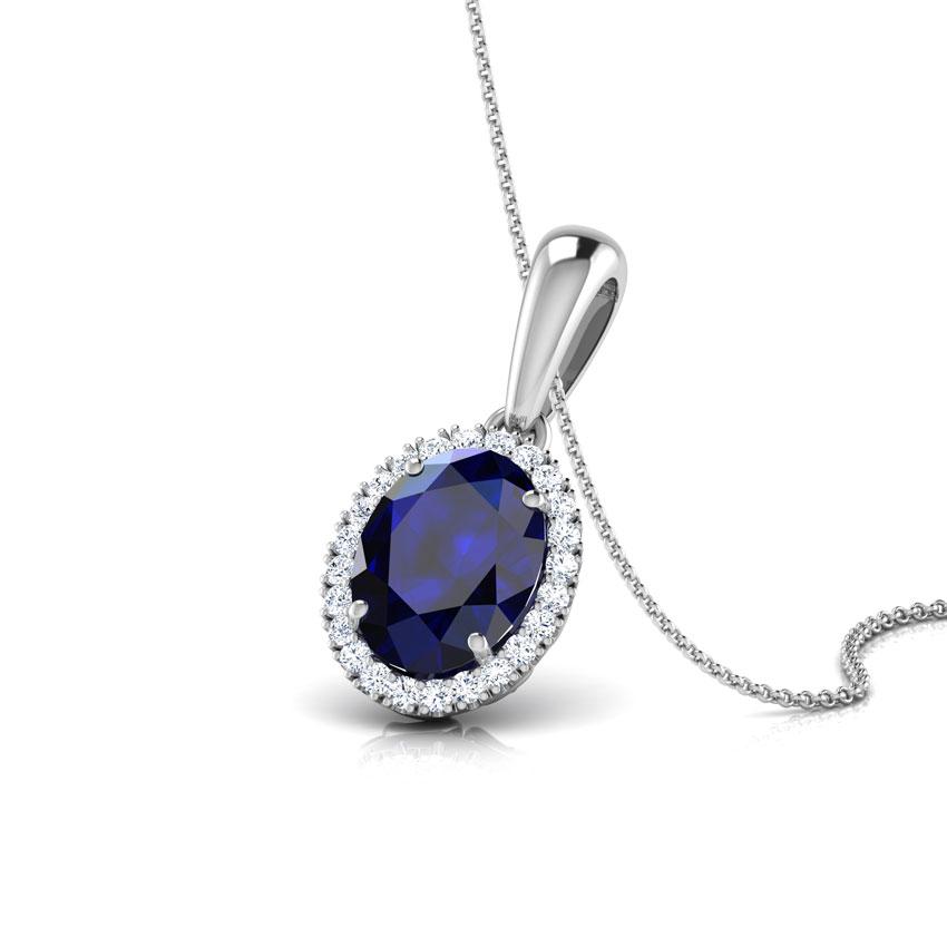 Halo Blue Sapphire Birthstone Pendant