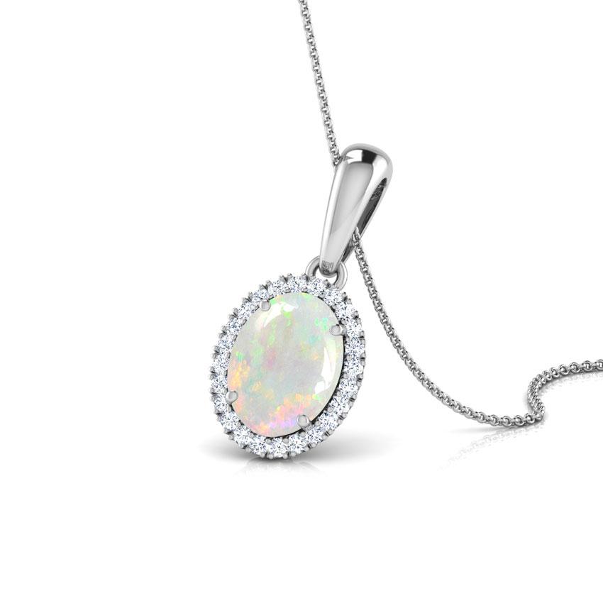 Halo Opal Birthstone Pendant