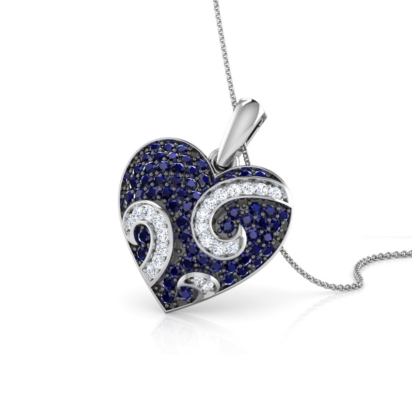 Sparkling Spiral Heart Pendant