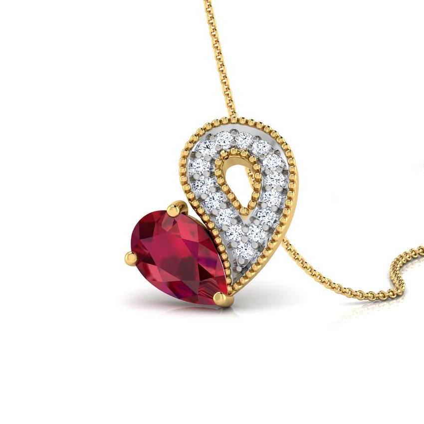Glitzy Ruby Heart Pendant