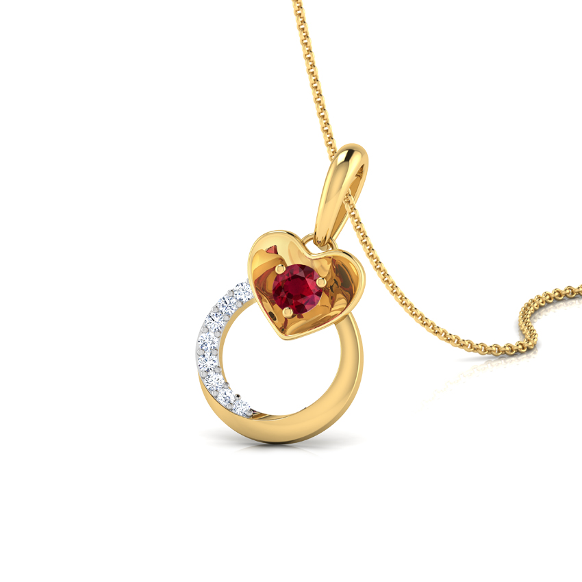 Pretty Ruby Heart Pendant