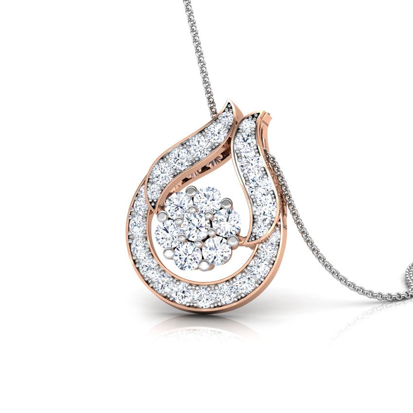 Diamond Pendants 14 Karat Rose Gold Clutch Diamond Drop Pendant