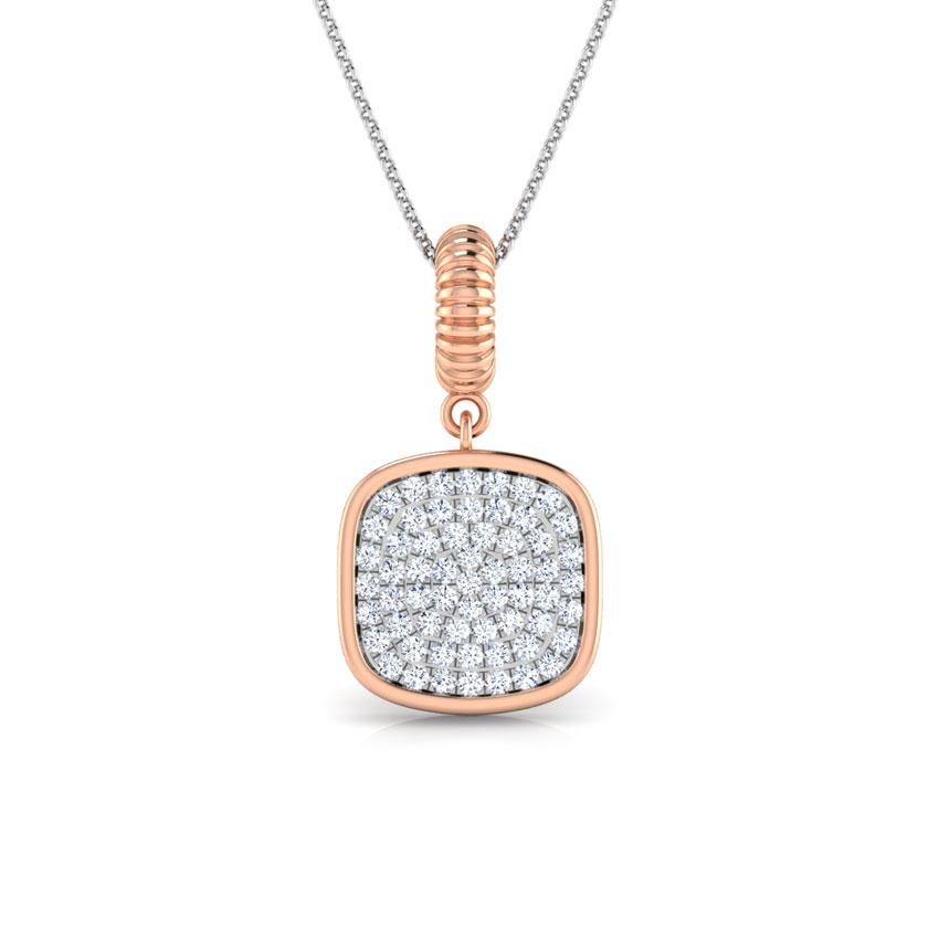 Diamond Pendants 18 Karat Rose Gold Cube Cluster Diamond Pendant