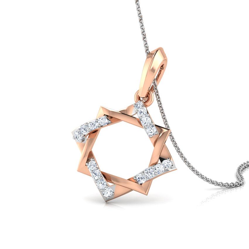Diamond Pendants 18 Karat Rose Gold Twine Star Diamond Pendant