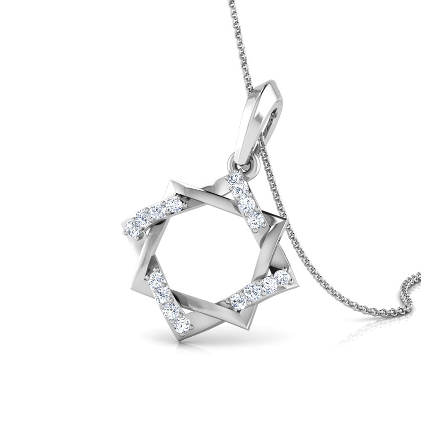 Diamond Pendants 18 Karat White Gold Twine Star Diamond Pendant
