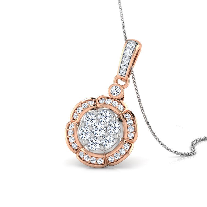 Diamond Pendants 14 Karat Rose Gold Scallop Cluster Diamond Pendant