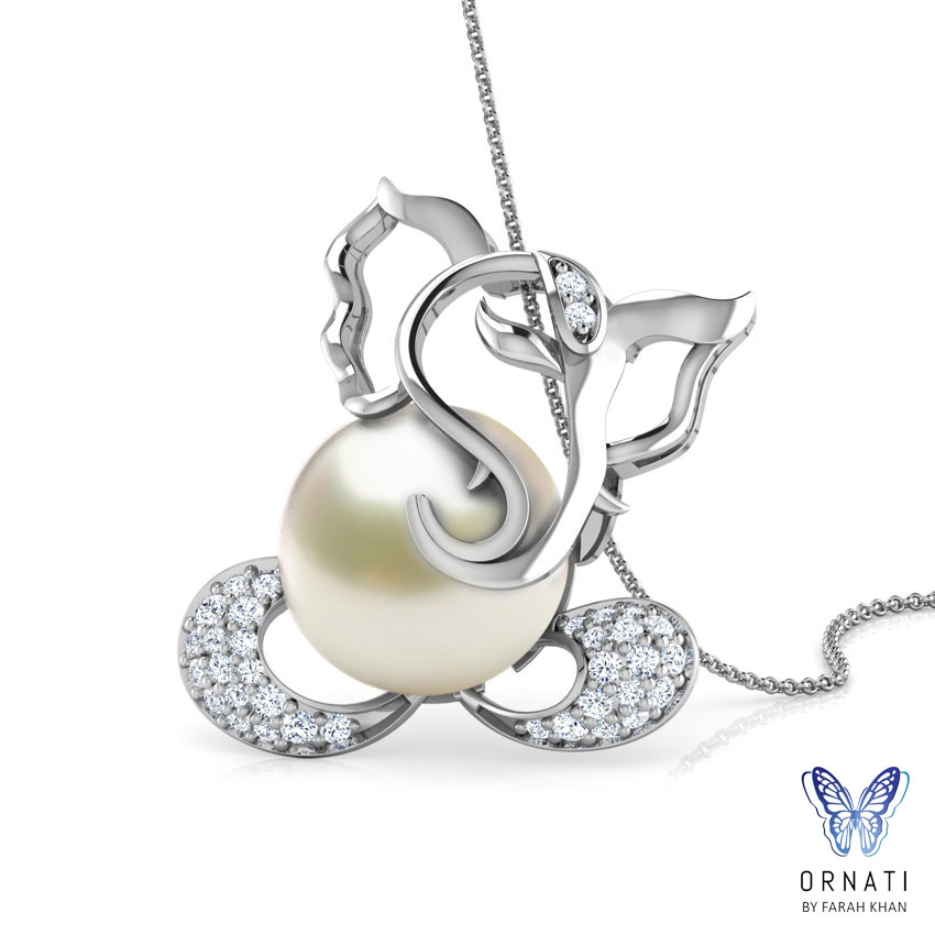 Diamond,Gemstone Pendants 18 Karat White Gold Cut-Out Ganesha Gemstone Pendant