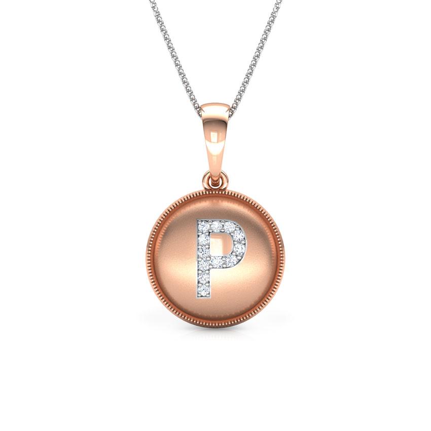 Diamond Pendants 18 Karat Rose Gold Alphabet P Diamond Pendant