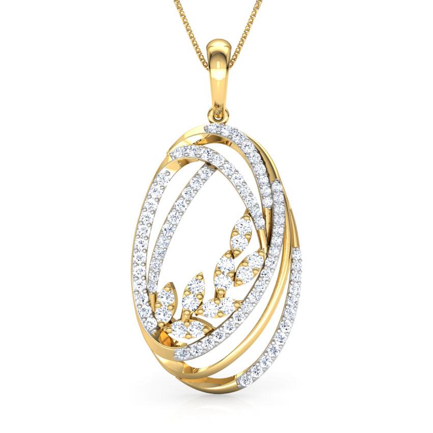 Diamond Pendants 18 Karat Yellow Gold Ovate Entwine Pendant