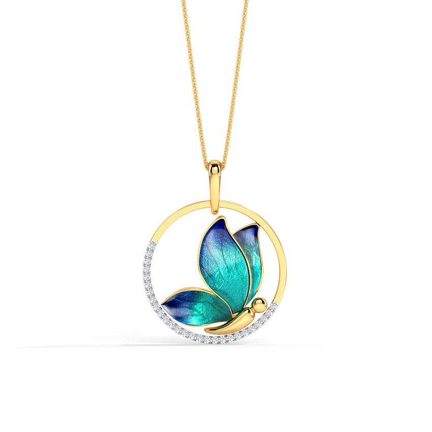 Encircle Blue Butterfly Pendant