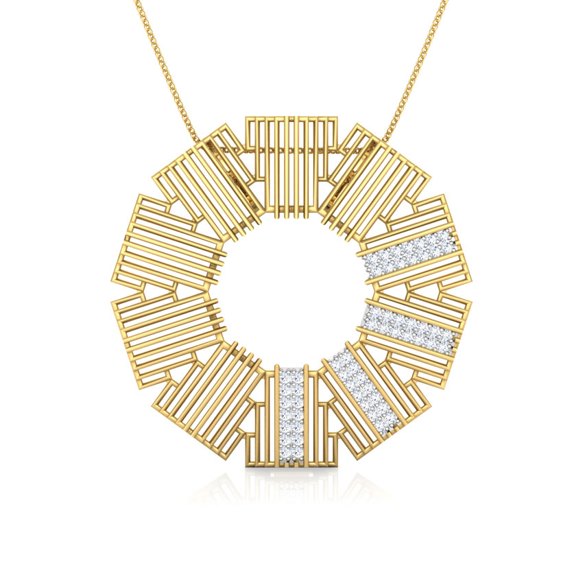Diamond Pendants 18 Karat Yellow Gold Eros Stepped Circular Diamond Pendant