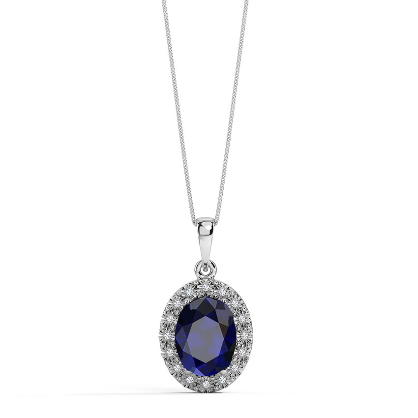 Oval Halo Miracle Plate Pendant