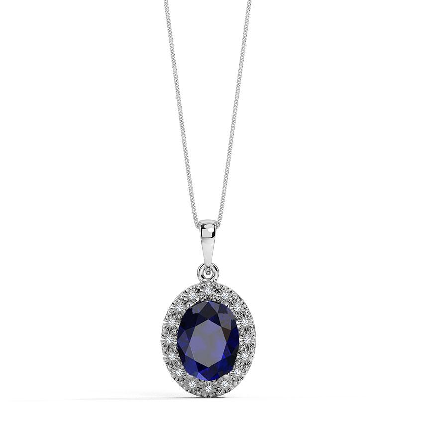 Diamond,Gemstone Pendants 18 Karat Yellow Gold Oval Halo Miracle Plate Gemstone Pendant