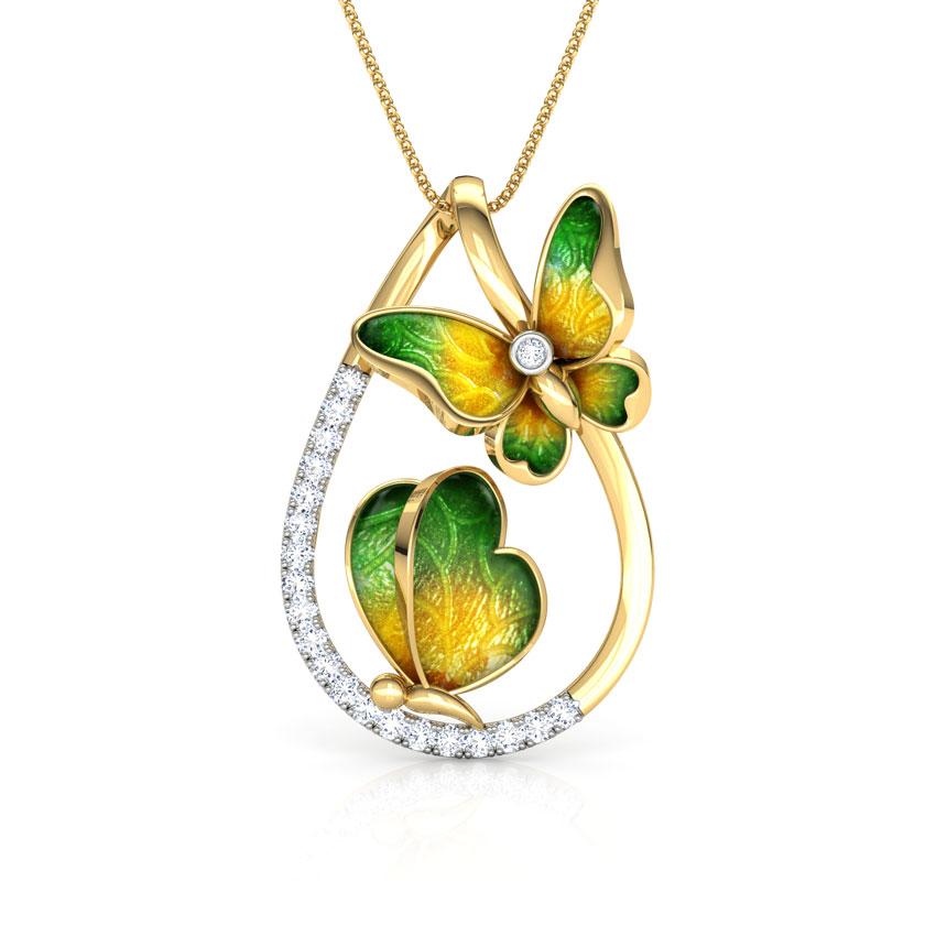 Diamond Pendants 18 Karat Yellow Gold Duo Green Butterfly Pendant
