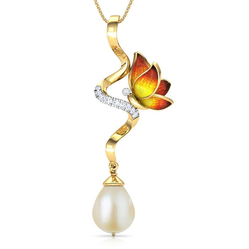 Diamond,Gemstone Pendants 18 Karat Yellow Gold Ribbon Drop Orange Butterfly Gemstone Pendant